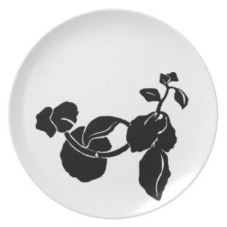 Black Flower Custom Plate