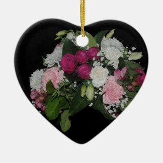 Black Flower Heart Ornament