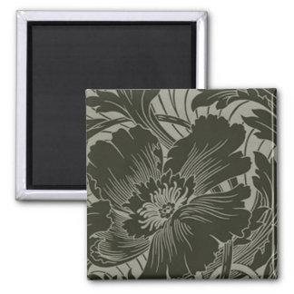 Black Flower Line Art Magnet