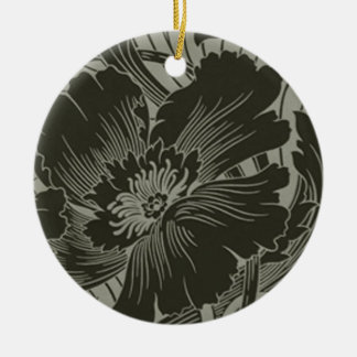 Black Flower Line Art Ornament