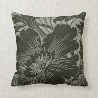 Black Flower Line Art Reversible Pillow