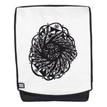 Black Flower Mandala Backpack