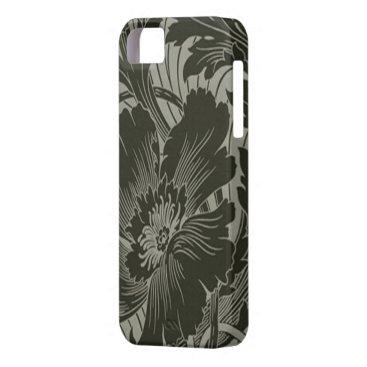 Black Flower On Gray Line Art iPhone 5G Case