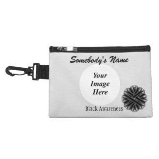 Black Flower Ribbon Accessories Bag