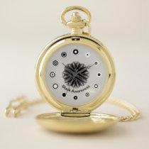 Black Flower Ribbon (Bf) by K Yoncich Pocket Watch