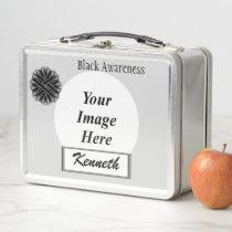 Black Flower Ribbon by Kenneth Yoncich Metal Lunch Box