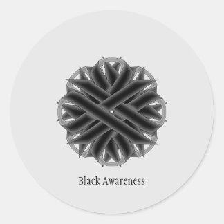 Black Flower Ribbon Classic Round Sticker