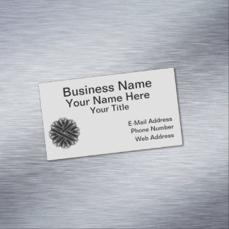Black Flower Ribbon Magnetic Business Card