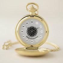Black Flower Ribbon (Mf) by K Yoncich Pocket Watch