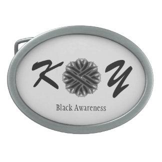 Black Flower Ribbon Oval Belt Buckle