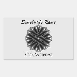 Black Flower Ribbon Rectangular Sticker