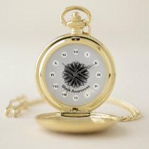 Black Flower Ribbon (Rf) by K Yoncich Pocket Watch