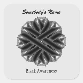 Black Flower Ribbon Square Sticker
