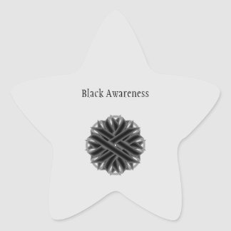Black Flower Ribbon Star Sticker