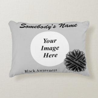 Black Flower Ribbon Template Accent Pillow