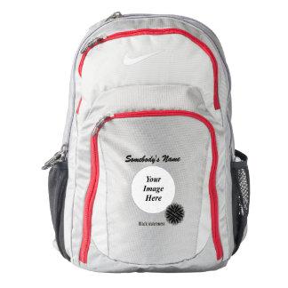 Black Flower Ribbon Template Backpack