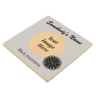 Black Flower Ribbon Template by Kenneth Yoncich Wood Coaster
