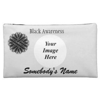 Black Flower Ribbon Template Cosmetic Bag