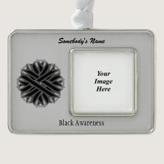 Black Flower Ribbon Template (H-O) Christmas Ornament