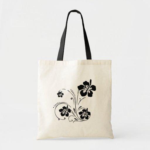 Black Flower Stencil Personalized Tote Bag