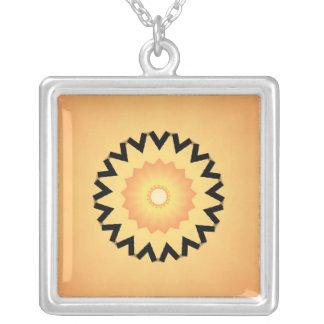 Black flower sun necklace