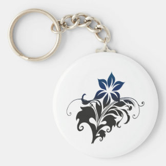 Black flower Two-color pencil Basic Round Button Keychain