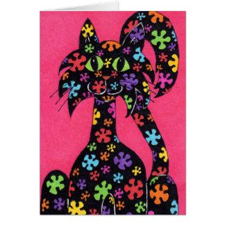 Black Flowered Cat Card