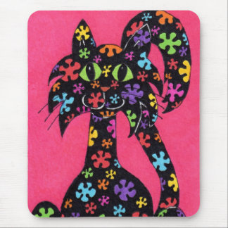 Black Flowered Cat Mouse Pad