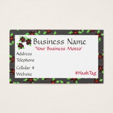 Professional Business Black Flowered Designer Business Card