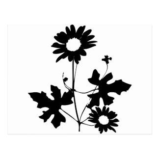 black flowers cirrus icon postcard