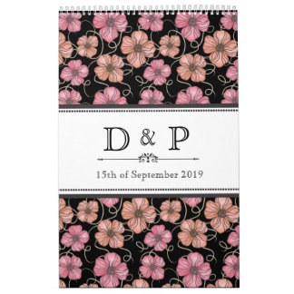 Black Flowers Monogram Wedding Guestbook Calendar