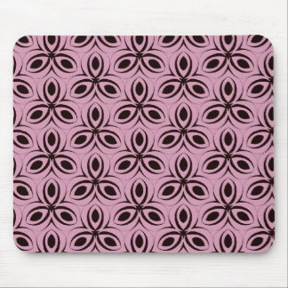 BLACK FLOWERS ON PINK DAMASK MOUSE PAD