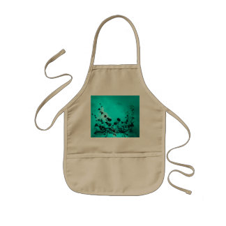 Black flowers on soft background kids' apron