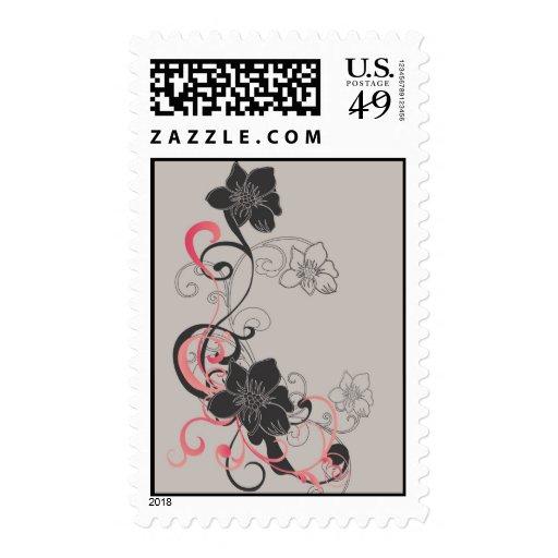 Black flowers Postage