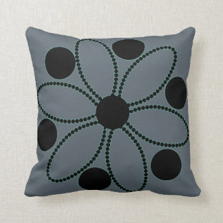 Black flowers with blue glow pillow