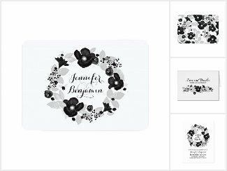 Black Flowers Wreath Wedding Invitation