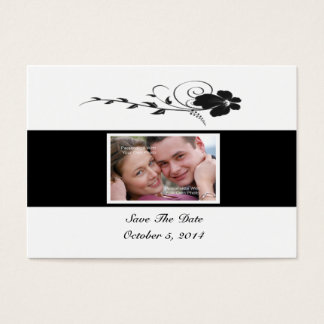 Black Flowing Flower Photo Save The Date Card