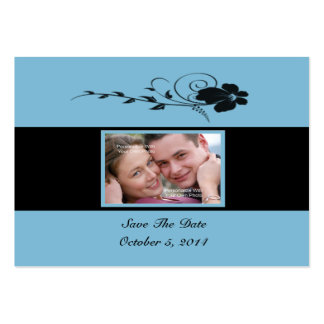Black Flowing Flower Photo Save The Date Card Large Business Cards (Pack Of 100)