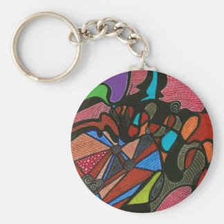 BLACK FLOWING LINES KEYCHAIN
