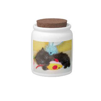 Black Fluffy Kitten Treat Candy Jar