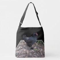 Black Fluffy Rooster Dimensional Art, Crossbody Bag