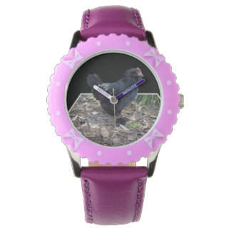 Black_Fluffy_Rooster_Kids_Bows_Leather_Watch Relojes De Pulsera