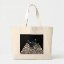 Black Fluffy Rooster, Large Tote Bag