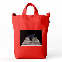 Black_Fluffy_Rooster_Red_BAGGU Duck Shopping Bag