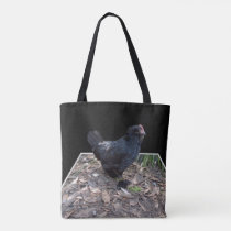 Black Fluffy Rooster, Tote Bag