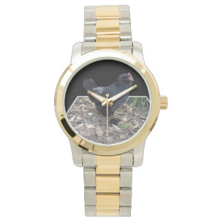Black_Fluffy_Rooster_Unisex_Large_Two_Toned_Watch Relojes