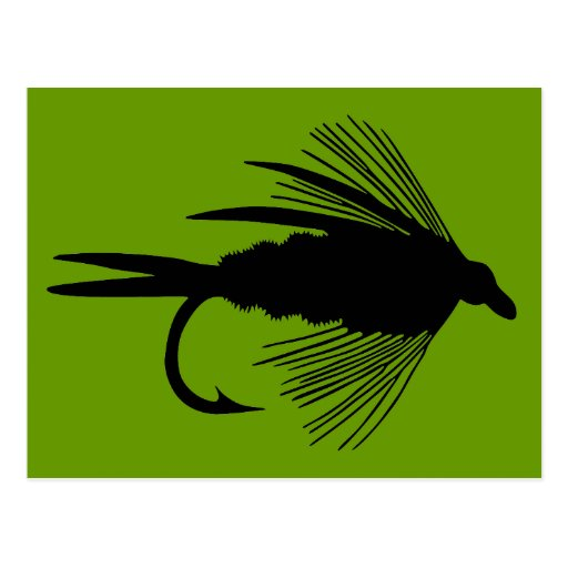Black fly fishing lure postcard