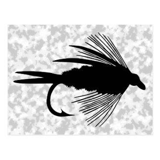 Black fly fishing lure postcard
