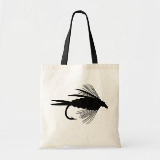 Black fly fishing lure tote bag