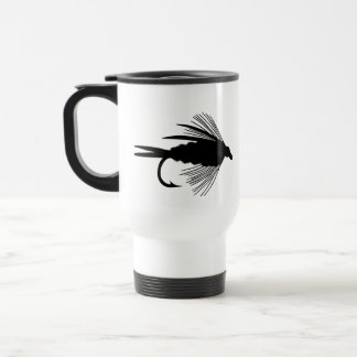 Black fly fishing lure travel mug